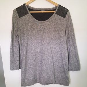 Express sweatshirt with leather shoulder detail